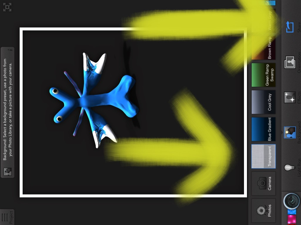 Figure 2. Transparent Background and Share icons in 123d Creature.