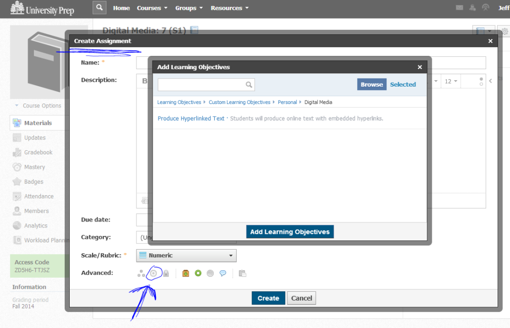 When creating a resource, hit the Target icon in Advanced to link the resource to the Learning Objective
