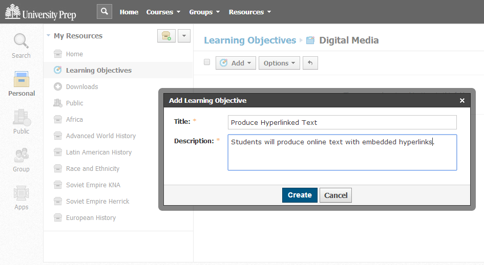 Adding a Learning Objective in the Personal Resources
