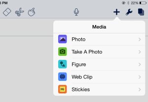 """Take a Photo"" to insert a camera image while working in Notability (iOS)."