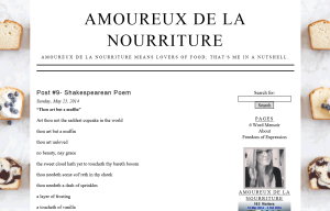 Shakespearean blogging assignment, Amoureux de la Nourriture